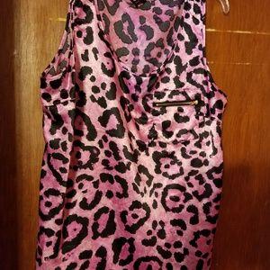 Pink leopard tank top